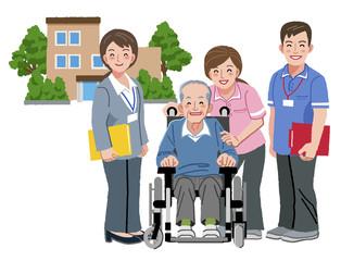 車いす シニア Elderly man in wheelchair with caregiver
