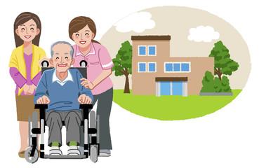 車いす シニア Happy elderly man in wheelchair with family and nurse