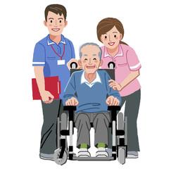 車いす シニア Portraits of happy elderly man in wheelchair and nurses