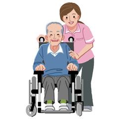 車いす シニア Portraits of happy elderly man in wheelchair and nurse