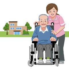 車椅子 シニア Portraits of senior man in wheelchair and caregiver