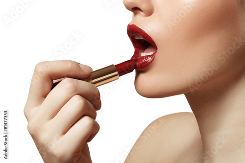 beautiful lips painted red lipstick - 81477353