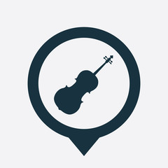 Musical instrument icon map pin