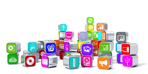Multimedia, Icons, Symbole, Apps, Audio, Video, Musik, digital