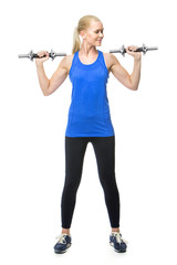 blonde woman wearing fitness clothing exercising with weights