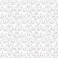 Cat doodles seamless pattern
