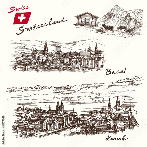 switzerland - han drawn set - 81477948
