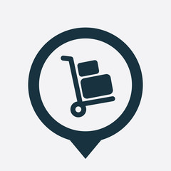 Luggage trolley icon map pin
