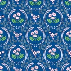春の花「レンゲ草」スクエア形状B(ブルー背景-基本サイズ)