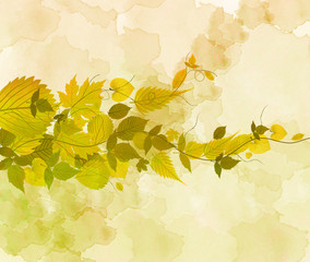 watercolor autumn background with leaves 1