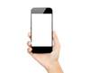 Leinwandbild Motiv closeup hand hold smartphone mobile isolated on white