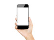 Leinwanddruck Bild - closeup hand hold smartphone mobile isolated on white