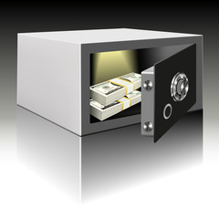 Steel safe with money