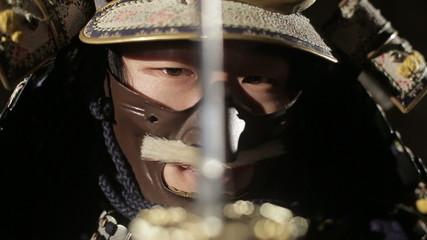 samurai ready to fight,close up