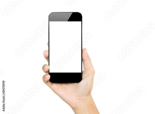closeup hand hold smartphone mobile isolated on white - 81478949