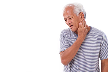 old man suffering from neck muscle inflammation or injury