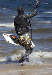 kitesurfer with board