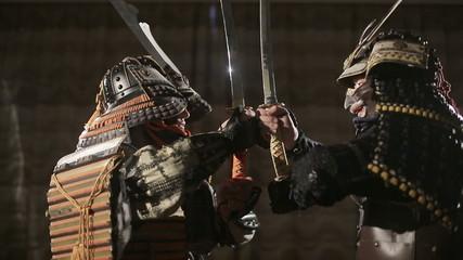 duel between two samurai