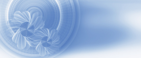 blue flower on circle radius  horizontal effect background