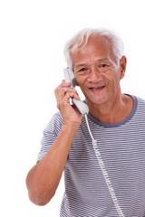 happy, smiling, relaxed old senior man talking via telephone