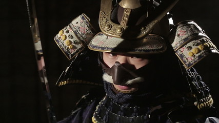samurai ready to fight, close up