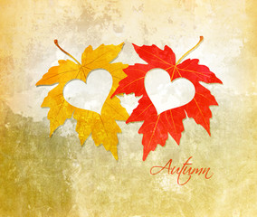 watercolor autumn leaves with hearts background