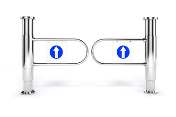 3d shop turnstile entrance with arrow sign, on white background