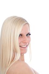 happy Blond Woman Looking Sideways