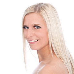 Smiling Blond Woman with Bare Shoulders