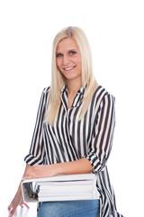 Blond Woman Holding Open Binder
