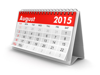 Calendar -  August 2015 (clipping path included)