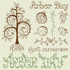 Arbor Day Set of Hand Drawn Design Elements