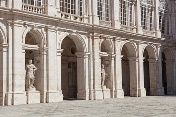 Sculptures and arches of the Royal palace in Madrid, Spain