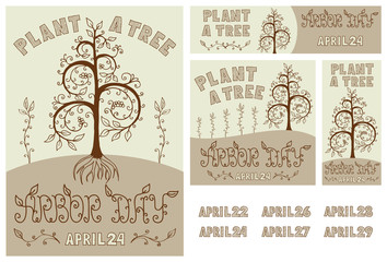 Arbor Day Set of Hand Drawn Poster, Card, Flyer and Banner