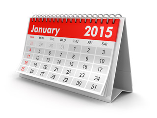 Calendar -  January 2015 (clipping path included)