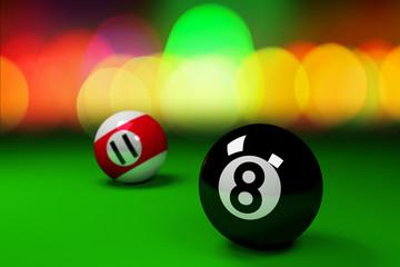 Billard Balls and Colorful Bokeh Background