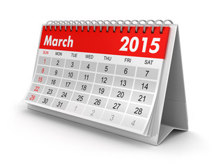 Calendar -  March 2015  (clipping path included)