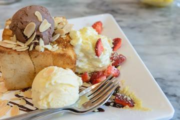 Honey Toast with Ice Cream and Strawberry