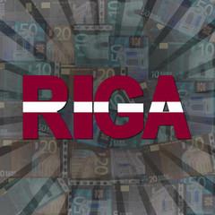 Riga flag text on Euros sunburst illustration