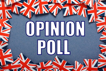 Opinion Poll for UK election with Union Jack Flags