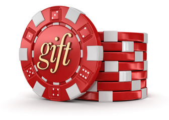chip of casino gift (clipping path included)
