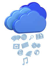 Raining Icons from Cloud Concept - 3D