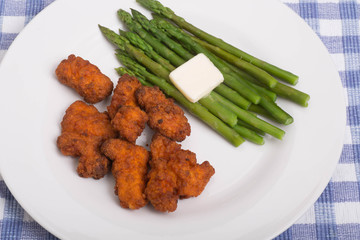 Green Asparagus with Buffalo Tenders