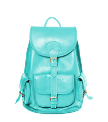 Leather backpack standing isolated on white cyan color