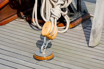 Sailboat block and rope detail horizontal