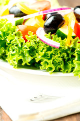 Salad with vegetables and greens in plate on table cloth close u