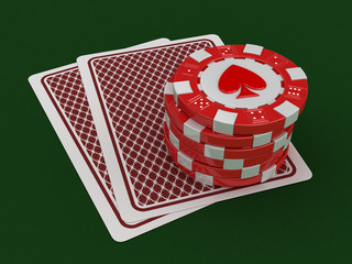 chips of casino and cards (clipping path included)