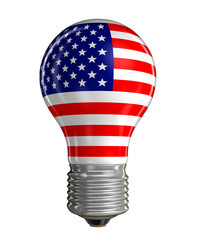 Light bulb with USA flag (clipping path included)