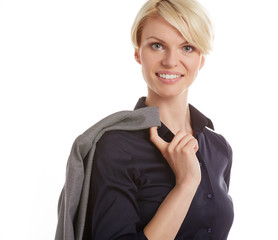 Business woman in a black shirt, isolated on grey background