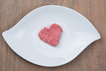 A Heart in mousse - Pink shape of heart